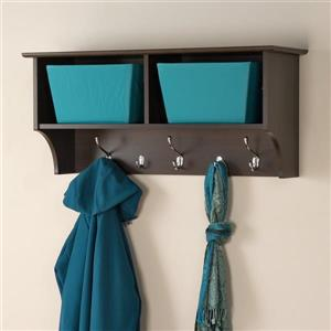 Prepac Espresso 5-Hook Wall Mounted Coat Rack
