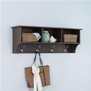 Prepac Espresso 8-Hook Wall Mounted Coat Rack