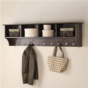 Prepac Espresso 9-Hook Wall Mounted Coat Rack