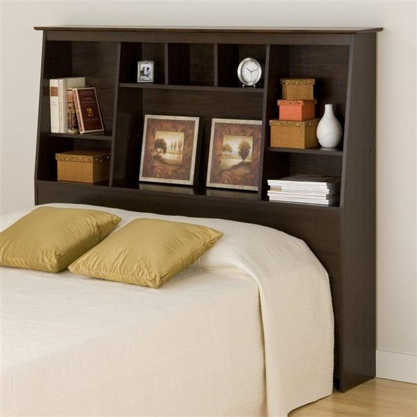 Prepac Espresso Full/Queen Slant-Back Bookcase Headboard