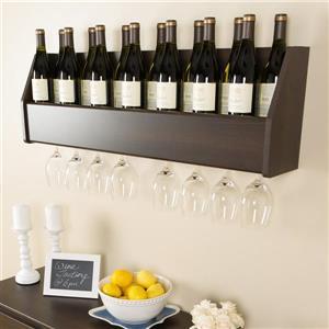 Prepac 18-Bottle Espresso Wall-Mount Wine Rack