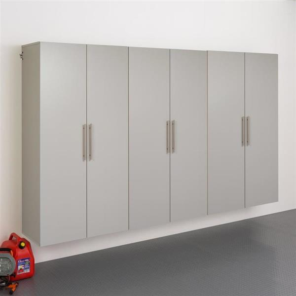 Prepac HangUps Set E Storage Cabinet - 3 Pieces - Light Grey