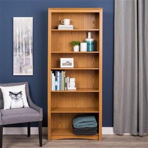 Prepac Oak  6-Shelf Bookcase