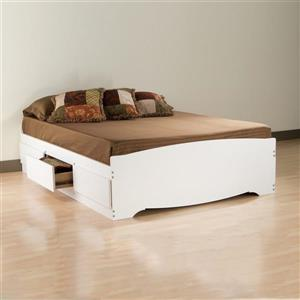 Prepac Mate's White Queen Platform Bed with Storage