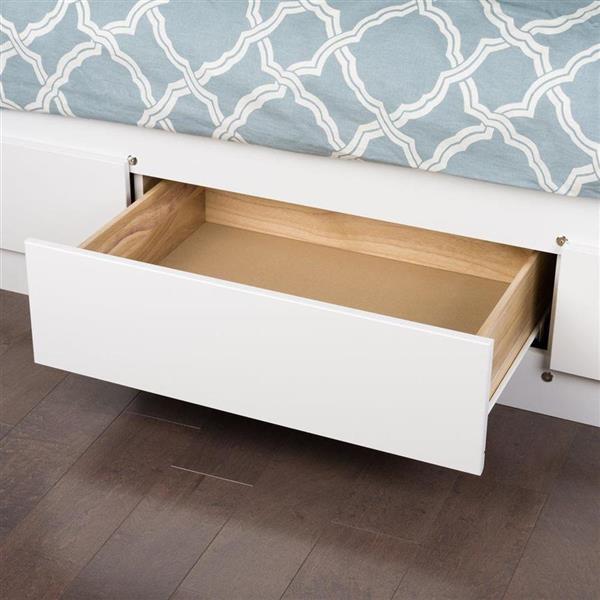 Prepac White Twin Platform Bed with Storage
