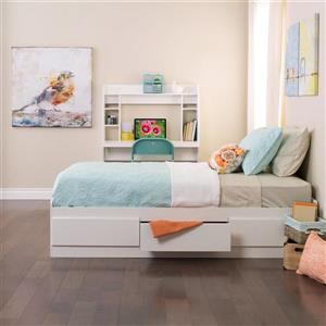 Prepac White Twin Platform Bed with Storage