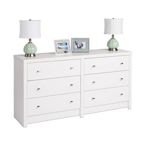 Prepac Calla 6-Drawer Dresser - 15.25-in x 88-in x 58.5-in - White