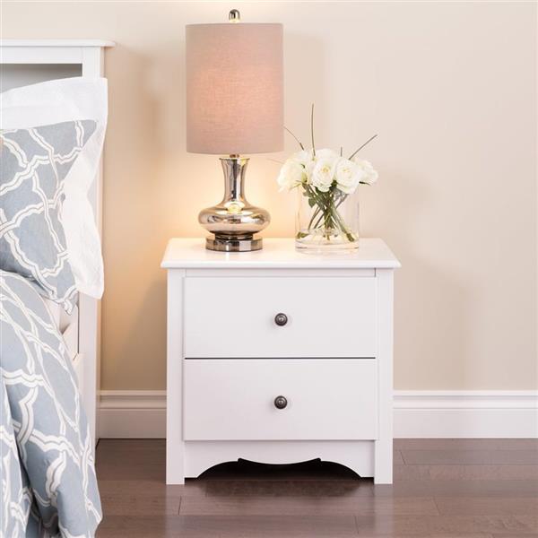 """Table de nuit à 2 tiroirs Monterey, 23,25"""" x 21,75"""" x 16"""", blanc"""