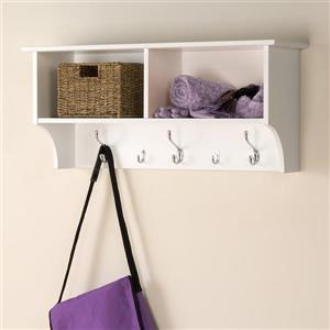 Prepac White 5-Hook Wall Mounted Coat Rack