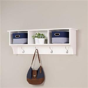 Prepac White 8-Hook Wall Mounted Coat Rack