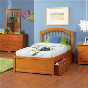 Atlantic Furniture Windsor Caramel Latte Twin Platform Bed
