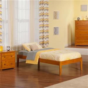 Atlantic Furniture Concord Twin XL Platform Bed with Open Foot Board in Caramel