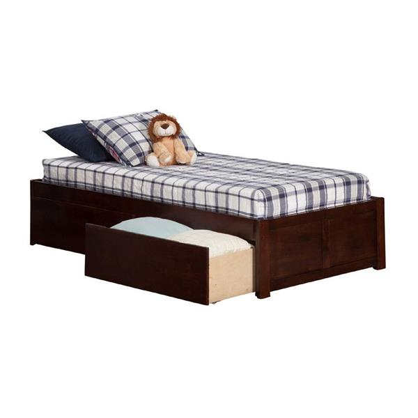 Atlantic Furniture Concord Twin Platform Bed with Flat Panel Foot Board and 2 Urban Bed Drawers in Walnut