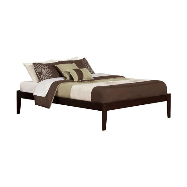 Atlantic Furniture Concord Queen Platform Bed with Open Foot Board in Espresso