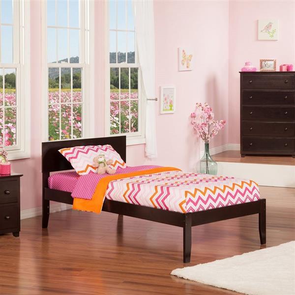 Atlantic Furniture Orlando Twin XL Platform Bed with Open Foot Board in Espresso