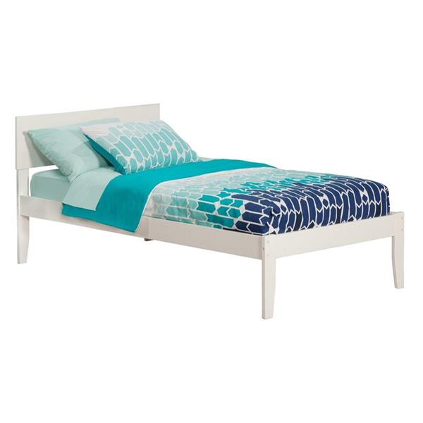 Atlantic Furniture Orlando Twin XL Platform Bed with Open Foot Board in White