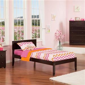 Atlantic Furniture Orlando Twin Platform Bed with Open Foot Board in Espresso