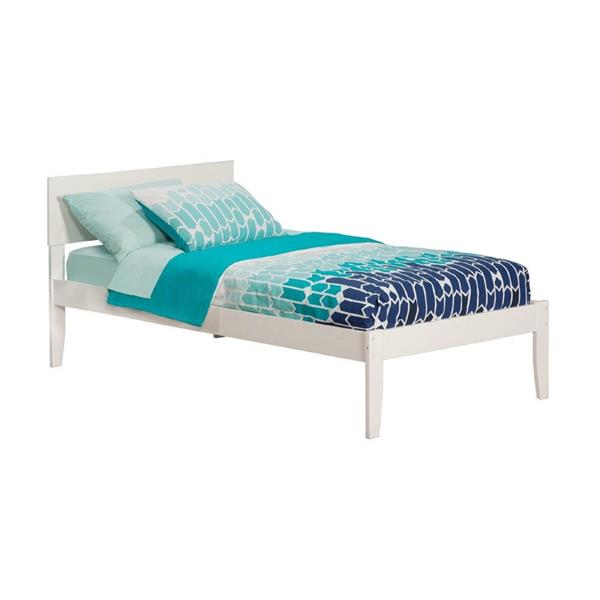 Atlantic Furniture Orlando Twin Platform Bed with Open Foot Board in White