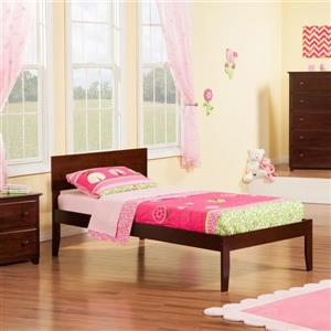 Atlantic Furniture Orlando Twin Platform Bed with Open Foot Board in Walnut