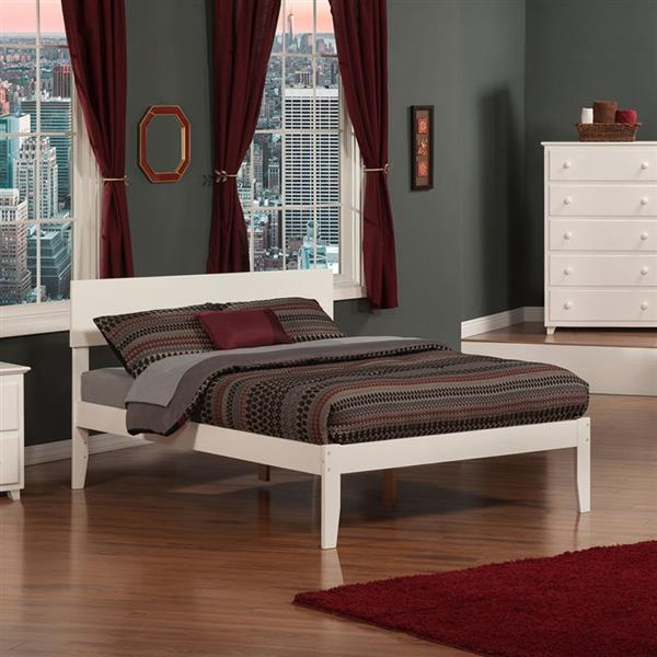 Atlantic Furniture Orlando Full Platform Bed with Open Foot Board in White