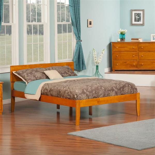 Atlantic Furniture Orlando Full Platform Bed with Open Foot Board in Caramel