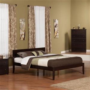Atlantic Furniture Orlando Queen Platform Bed with Open Foot Board in Espresso