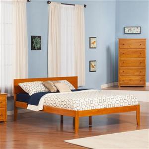 Atlantic Furniture Orlando Queen Platform Bed with Open Foot Board in Caramel