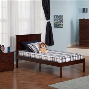 Atlantic Furniture Madison Twin Platform Bed with Open Foot Board in Walnut