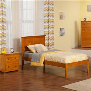 Atlantic Furniture Madison Twin Platform Bed with Open Foot Board in Caramel