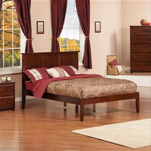 Atlantic Furniture Madison Full Platform Bed with Open Foot Board in Walnut