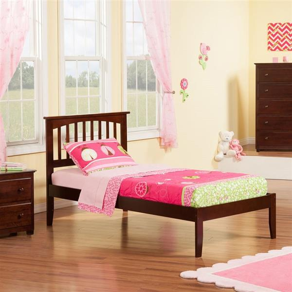 Atlantic Furniture Mission Twin XL Platform Bed with Open Foot Board in Walnut