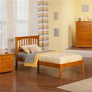 Atlantic Furniture Mission Twin XL Platform Bed with Open Foot in Caramel