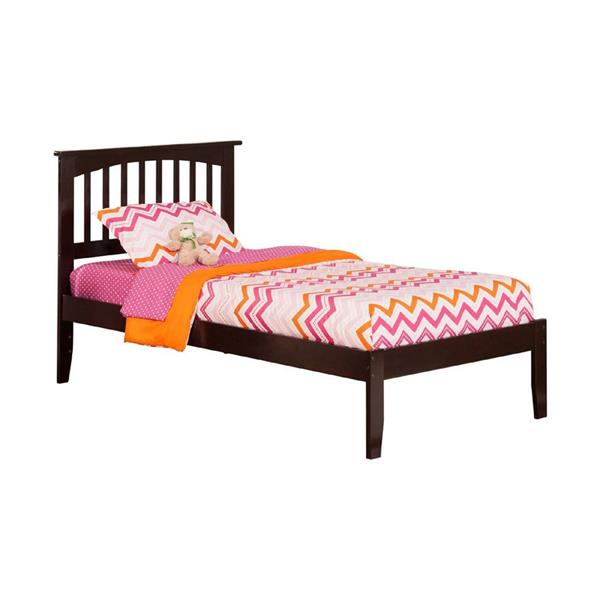 Atlantic Furniture Mission Twin Platform Bed with Open Foot Board in Espresso