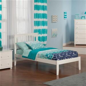 Atlantic Furniture Mission Twin Platform Bed with Open Foot Board in White