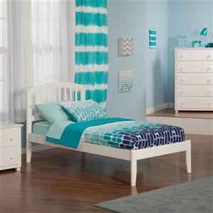 Atlantic Furniture Richmond Twin Platform Bed with Open Foot Board in White