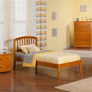 Atlantic Furniture Richmond Twin Platform Bed with Open Foot Board in Caramel