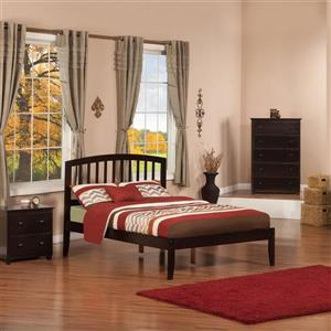 Atlantic Furniture Richmond Full Platform Bed with Open Foot Board in Espresso