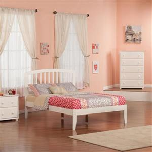 Atlantic Furniture Richmond Full Platform Bed with Open Foot Board in White