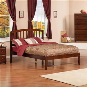 Atlantic Furniture Richmond Full Platform Bed with Open Foot Board in Walnut
