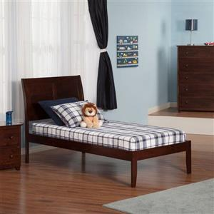 Atlantic Furniture Portland Twin XL Platform Bed with Open Foot Board in Walnut
