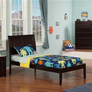 Atlantic Furniture Portland Twin Platform Bed with Open Foot Board in Espresso
