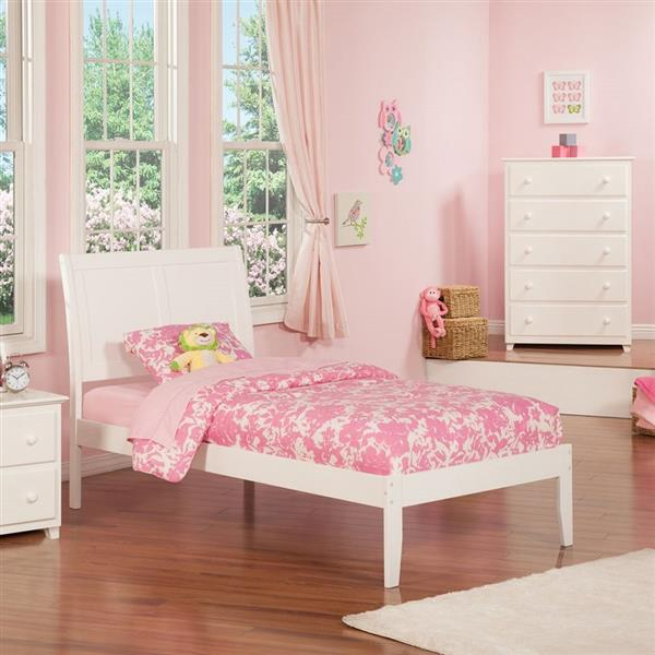 Atlantic Furniture Portland Twin Platform Bed with Open Foot Board in White
