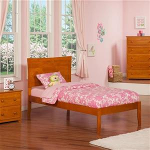 Atlantic Furniture Metro Twin Platform Bed with Open Foot Board in Caramel