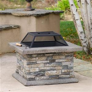 Best Selling Home Decor 29-in W Natural Stone Cement Wood-Burning Fire Pit