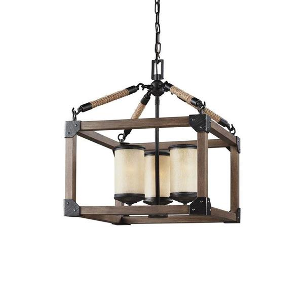 Sea Gull Lighting Dunning Stardust Rustic Frosted Glass Cage Pendant