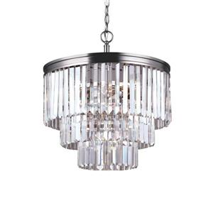 Sea Gull Lighting Carondelet 4-Light Antique Brushed Nickel Transitional Clear Glass Waterfall Chandelier