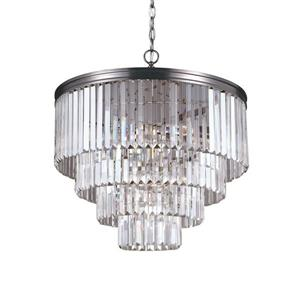 Sea Gull Lighting Carondelet 6-Light Antique Brushed Nickel Transitional Clear Glass Waterfall Chandelier