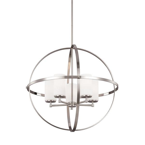 Sea Gull Lighting Alturas Brushed Nickel Modern Etched Glass Orb Pendant