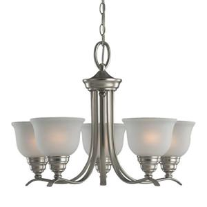 Sea Gull Lighting Wheaton 5-Light Brushed Nickel Transitional Etched Glass Shaded Chandelier