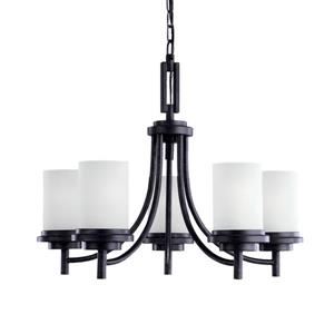 Sea Gull Lighting Winnetka 5-Light Blacksmith Modern Etched Glass Shaded Chandelier